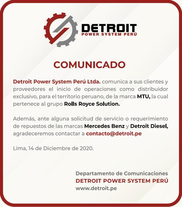 Comunicado Detroit Power System Perú